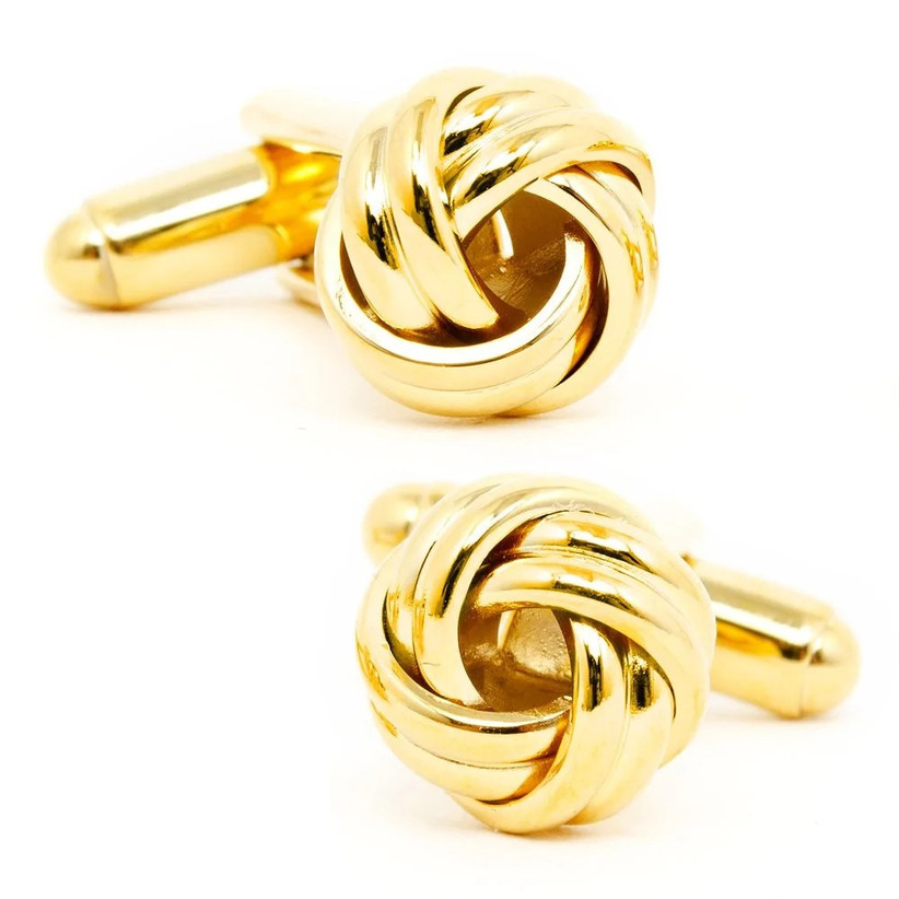 Yellow gold love knot cuff links for wedding