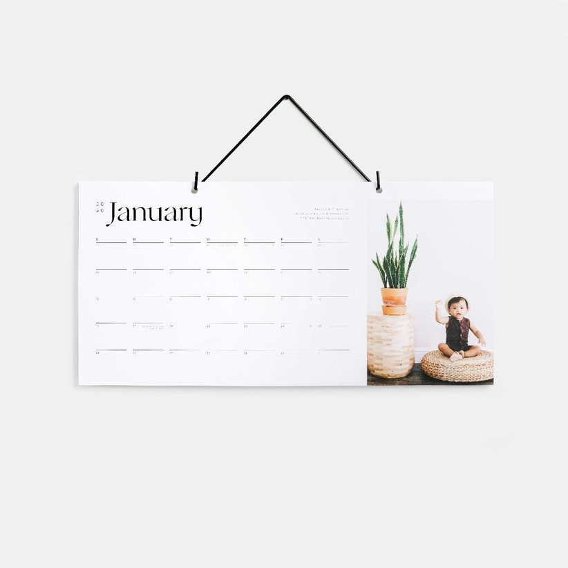 hanging calendar with baby photo
