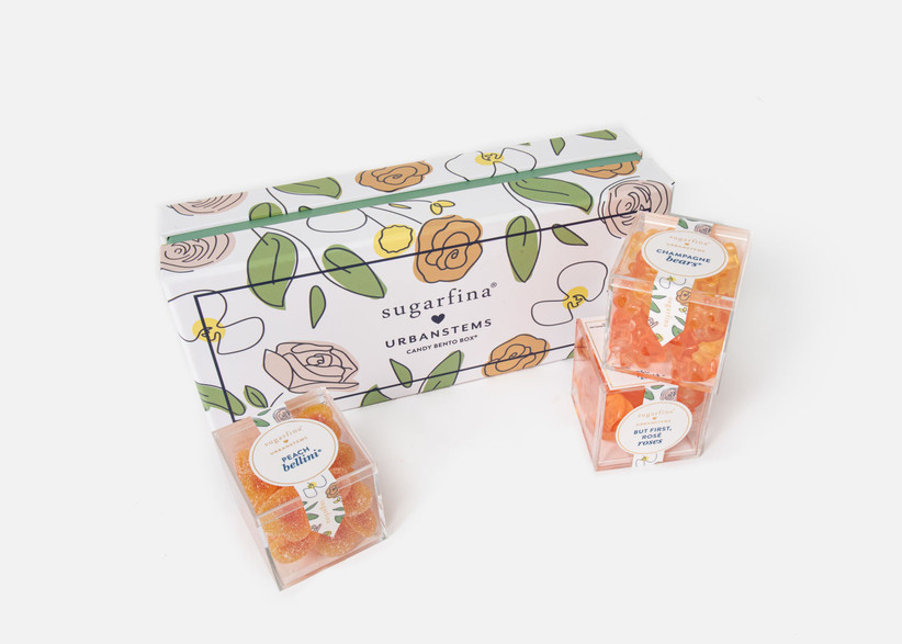 Selection of alcohol-infused candy in pretty floral gift box