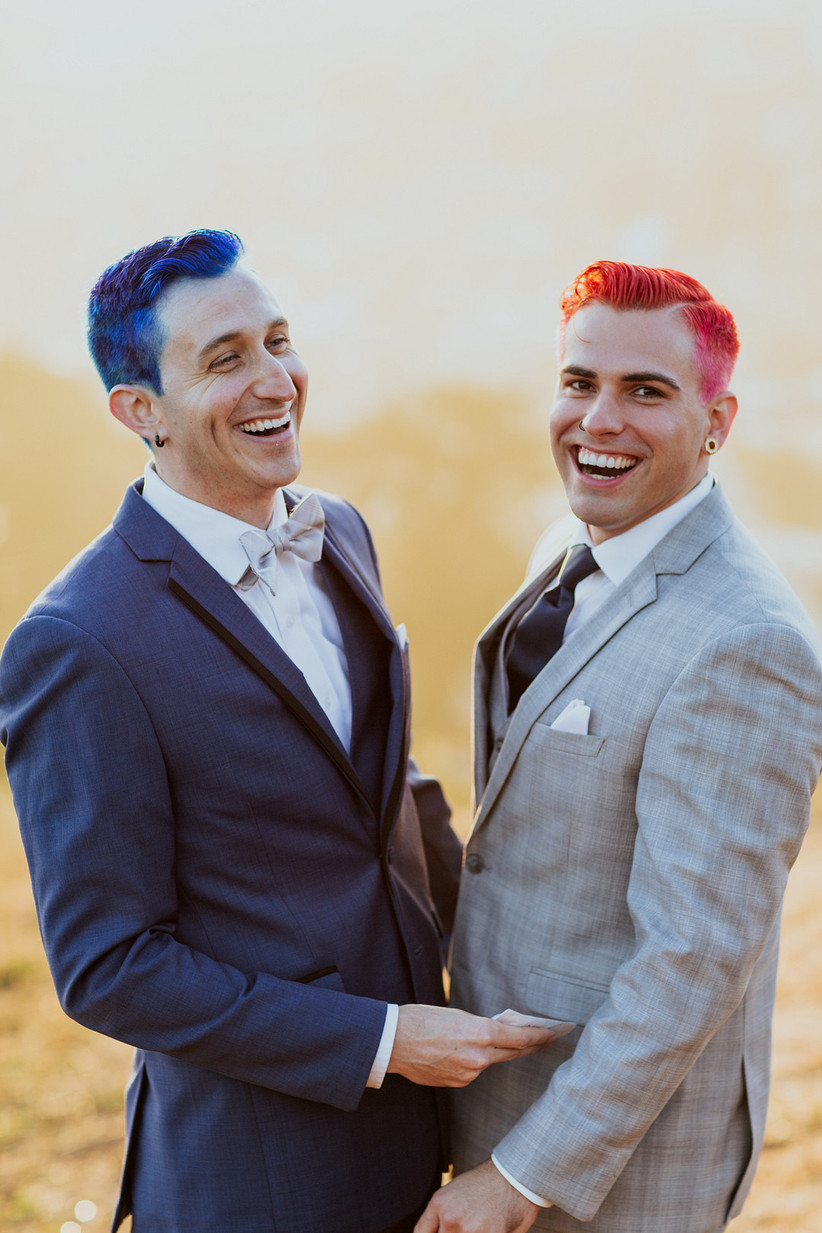 same-sex couple two grooms with blue and orange hair