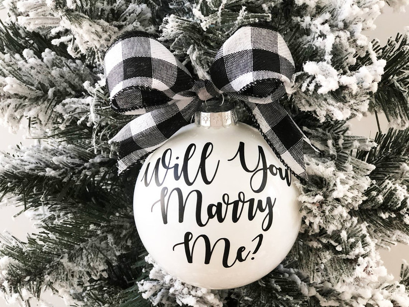 Festive Will You Marry Me bauble on Christmas tree