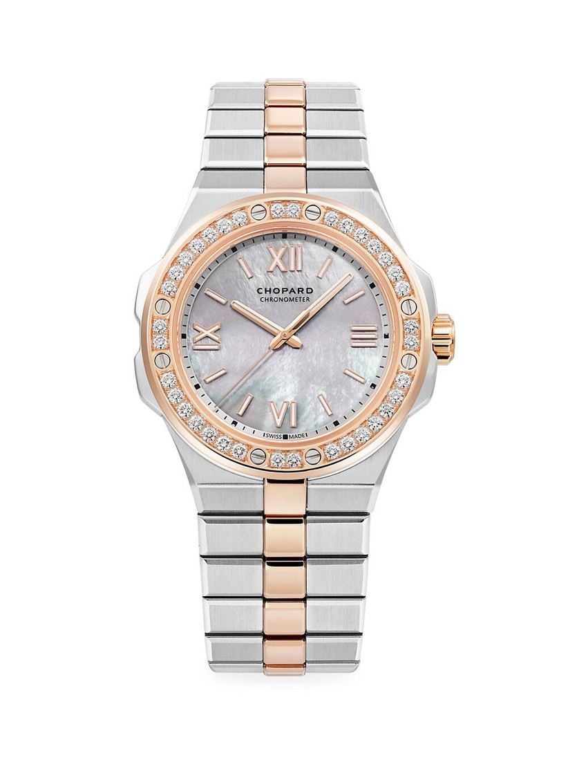 Chopard stainless steel and rose gold diamond accent engagement watch for her