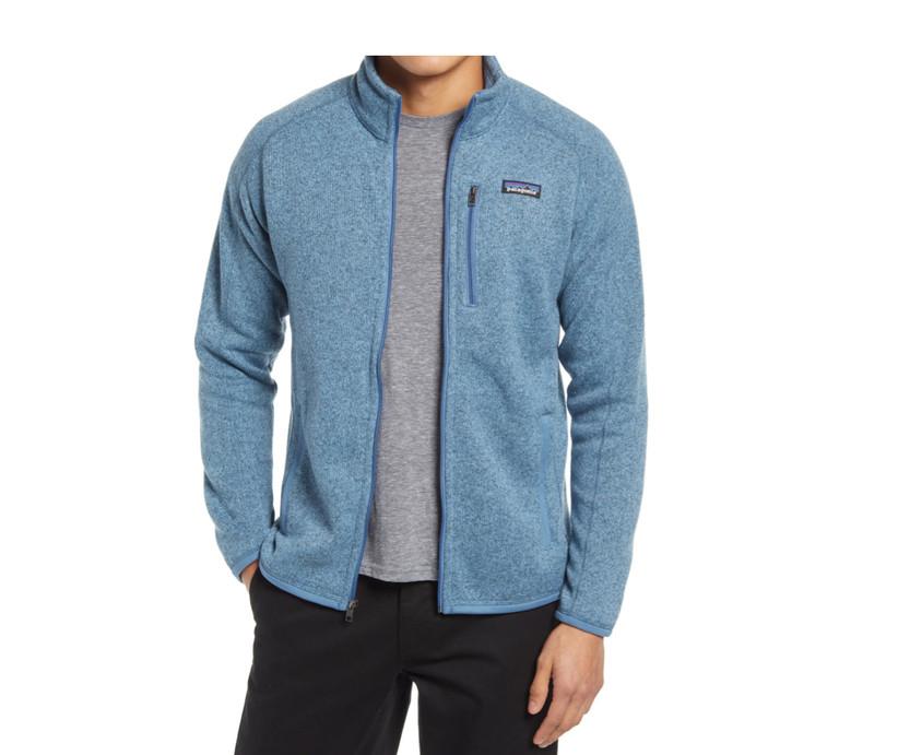 blue fleece jacket by patagonia
