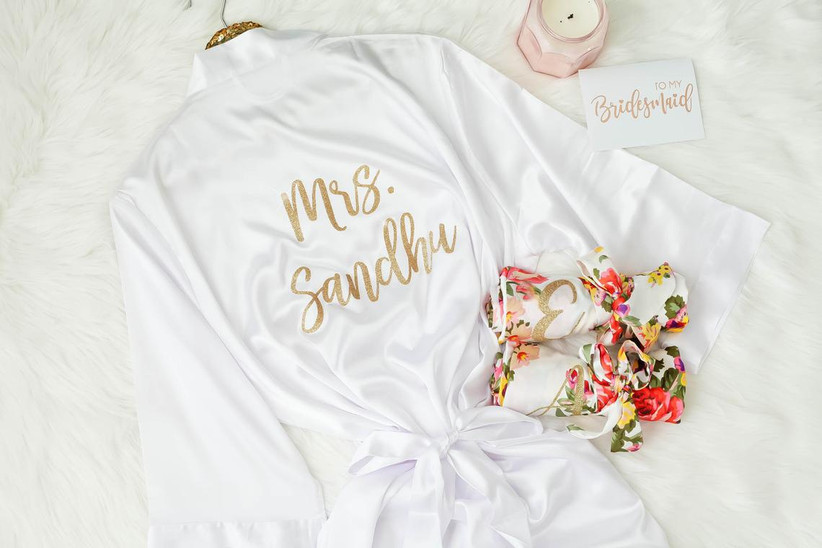 White bridal robe with gold personalization