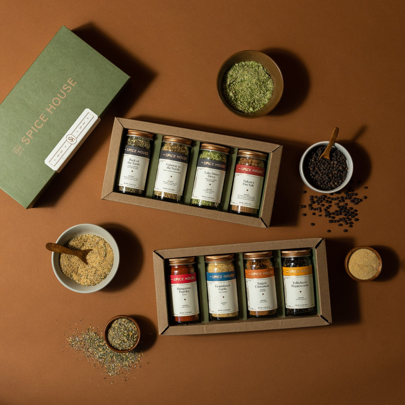 Two sets of four spice blends with a pretty gift box