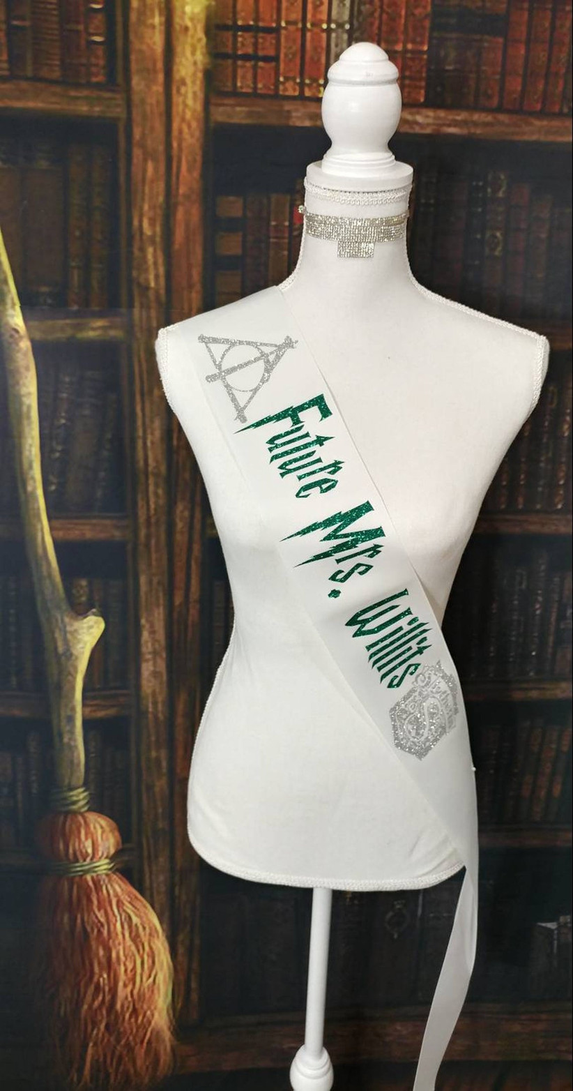 white bachelorette party sash decorated with