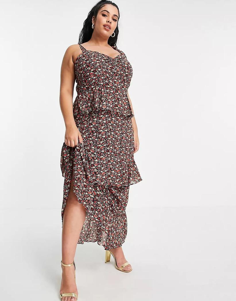 Black floral ruffled tier maxi dress for summer wedding