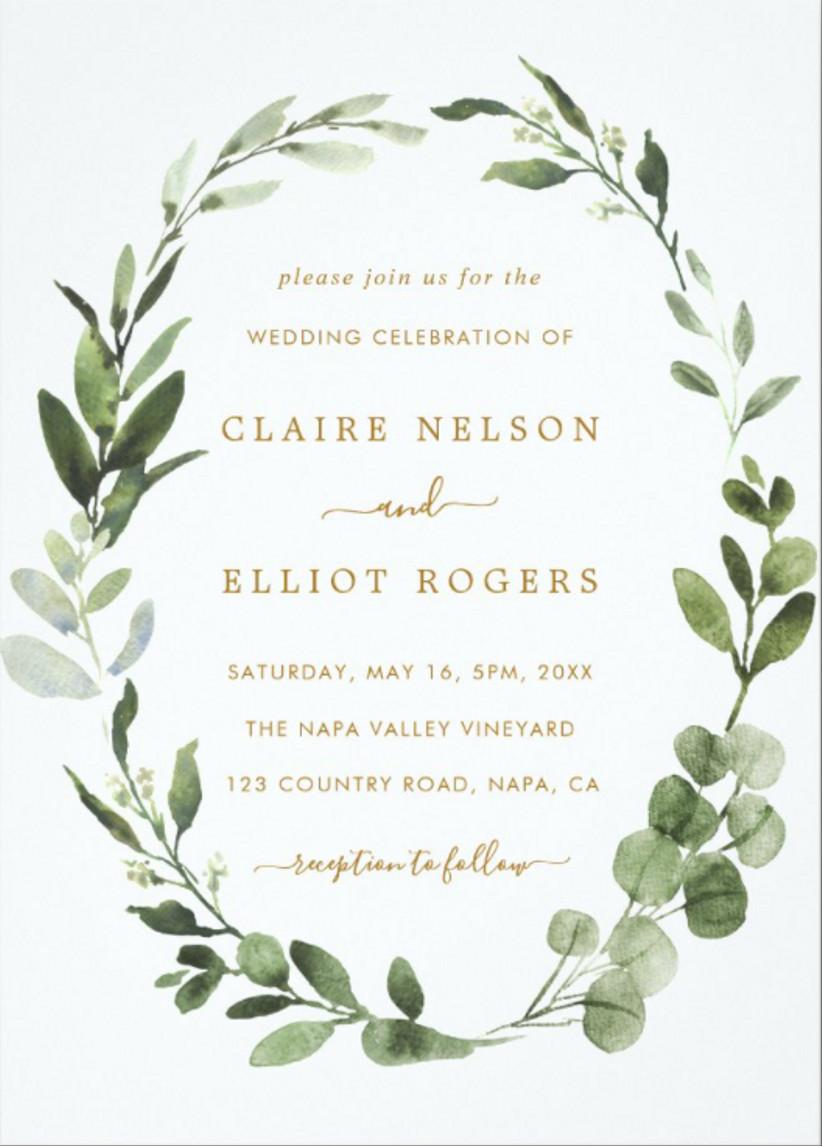 greenery fall wedding invitation