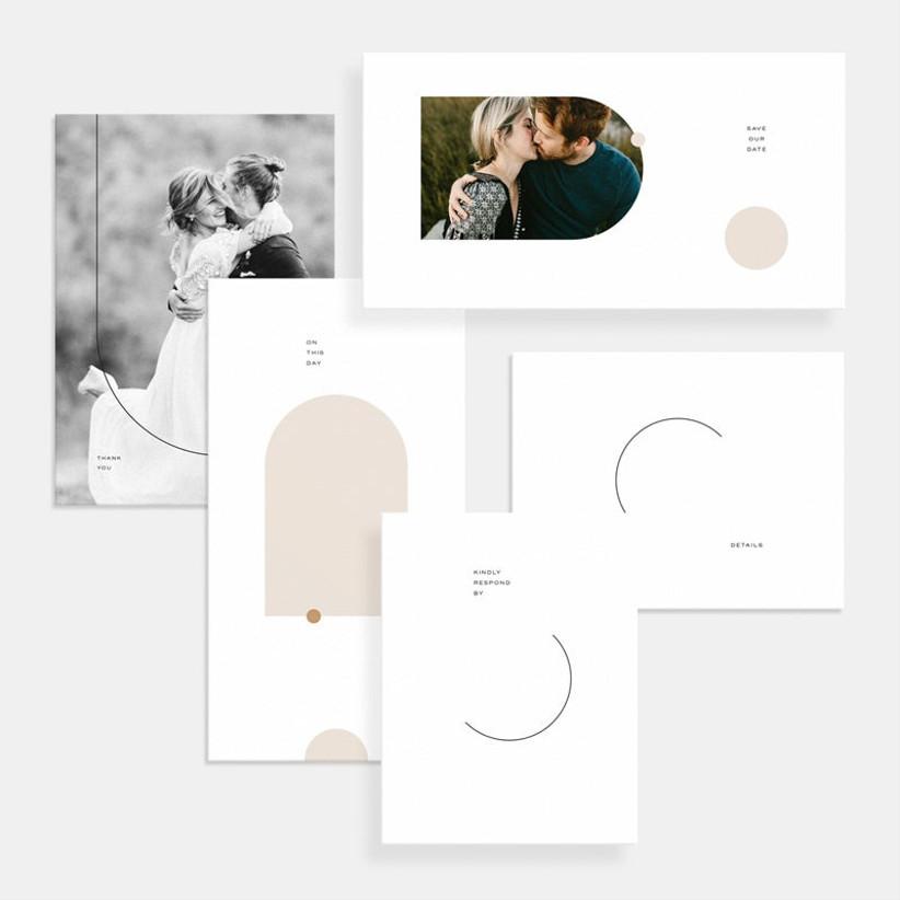 Modern wedding invitation suite with photo details