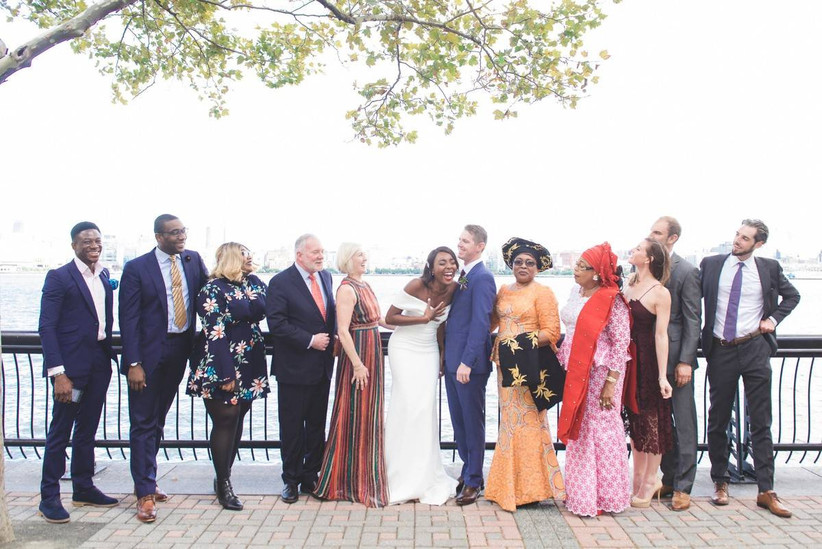 bride and groom with family members