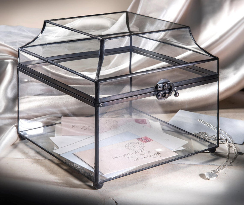 vintage-style curved glass wedding card box