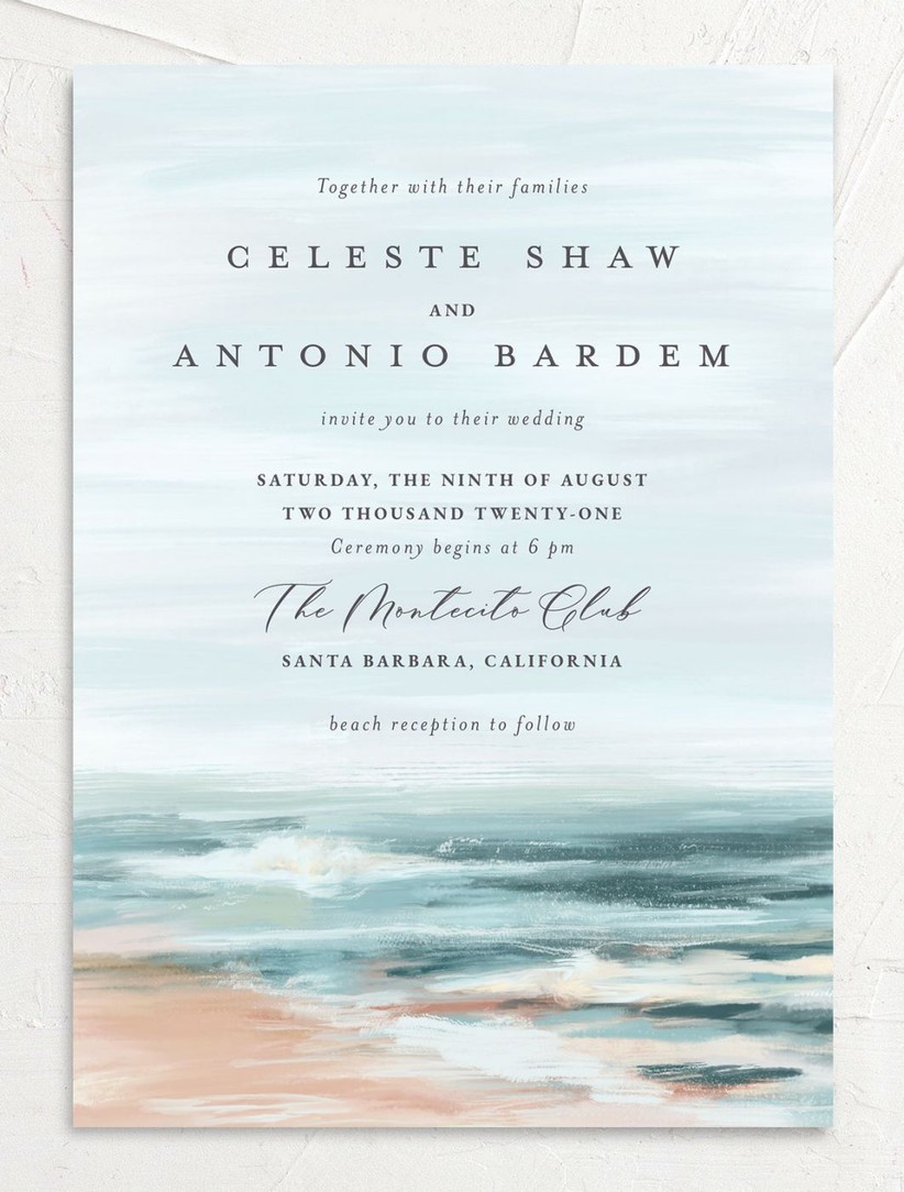 summer wedding invitation with beach scene background