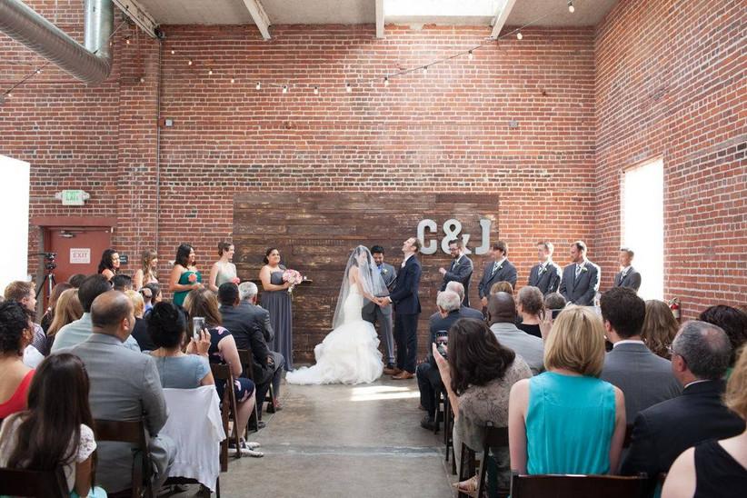 indoor industrial wedding ceremony