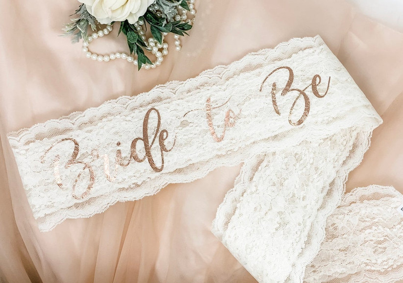 white lace bachelorette party sash with