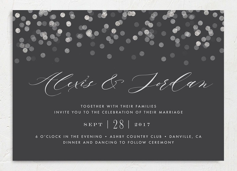 glam winter wedding invitations black background with silver confetti print and silver text
