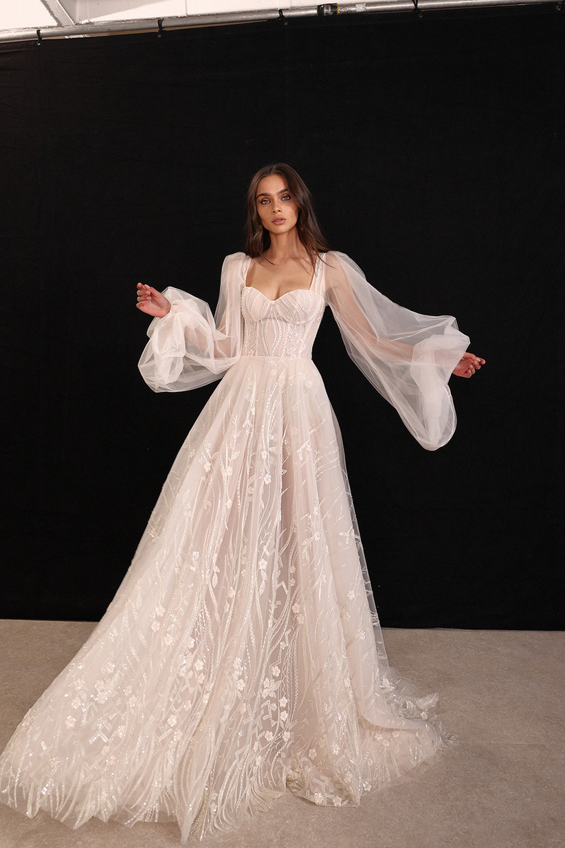 sweetheart wedding dress with bishop sleeves and tulle ball gown skirt