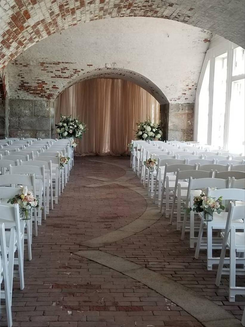 wedding ceremony in brick tunnel at fort adams trust rhode island wedding venue