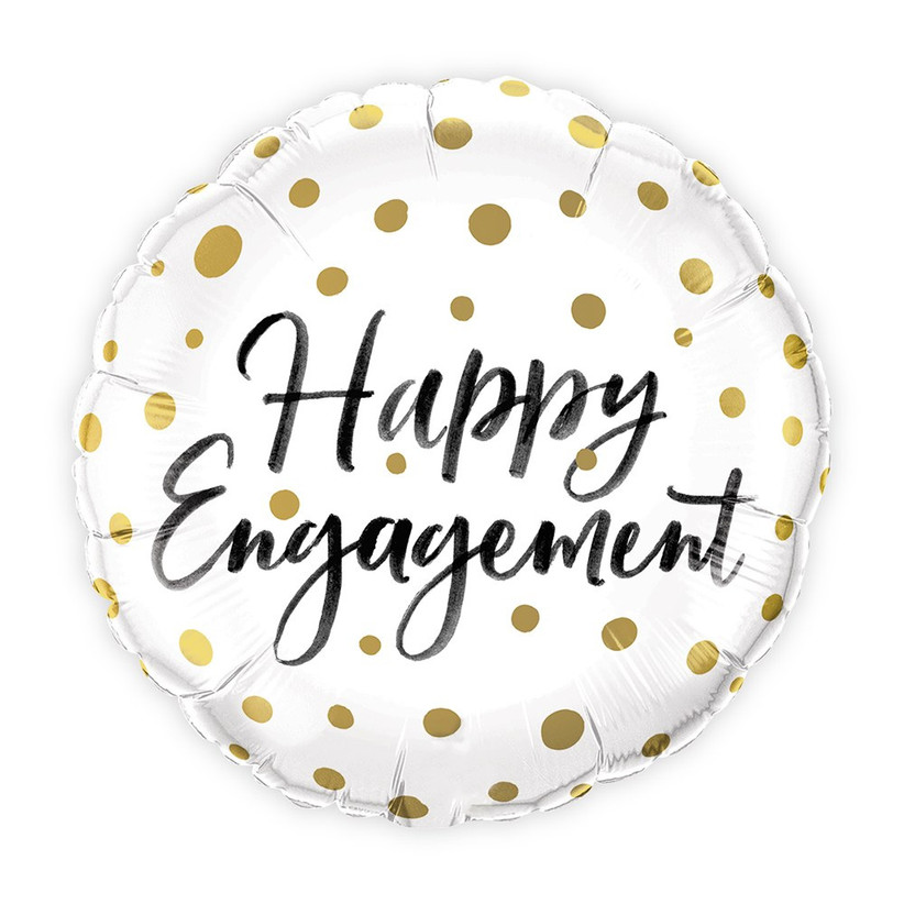 Happy Engagement white and gold polka-dot balloon engagement party decoration