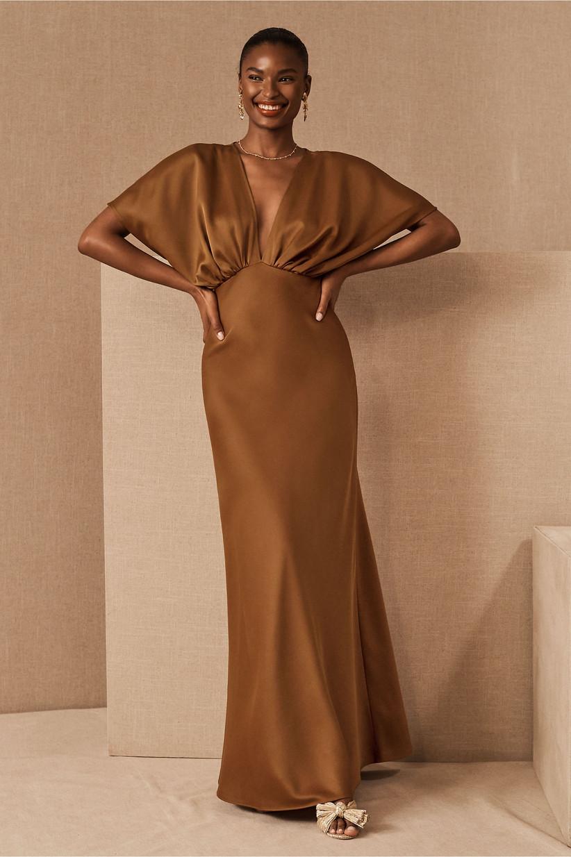Formal rust-toned fall wedding guest dress
