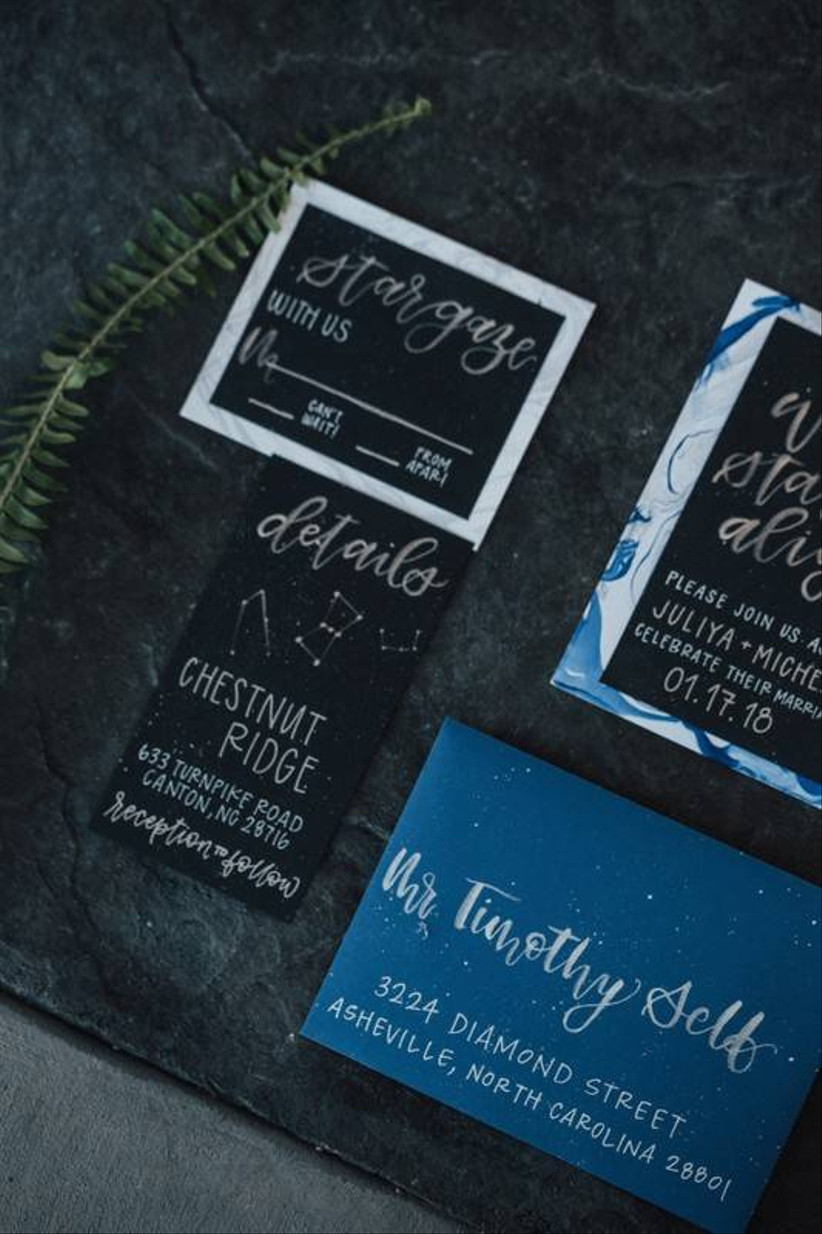navy blue and black celestial wedding theme invitations with constellations