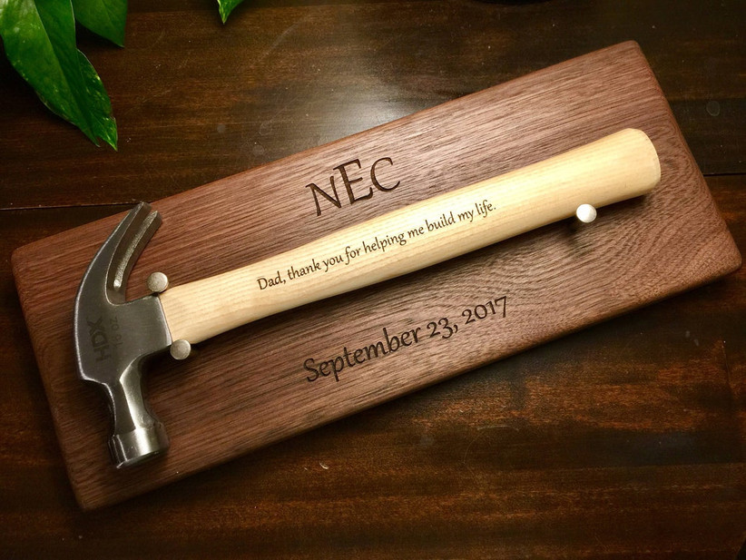Engraved hammer on personalized wooden wall plaque father of the bride gift