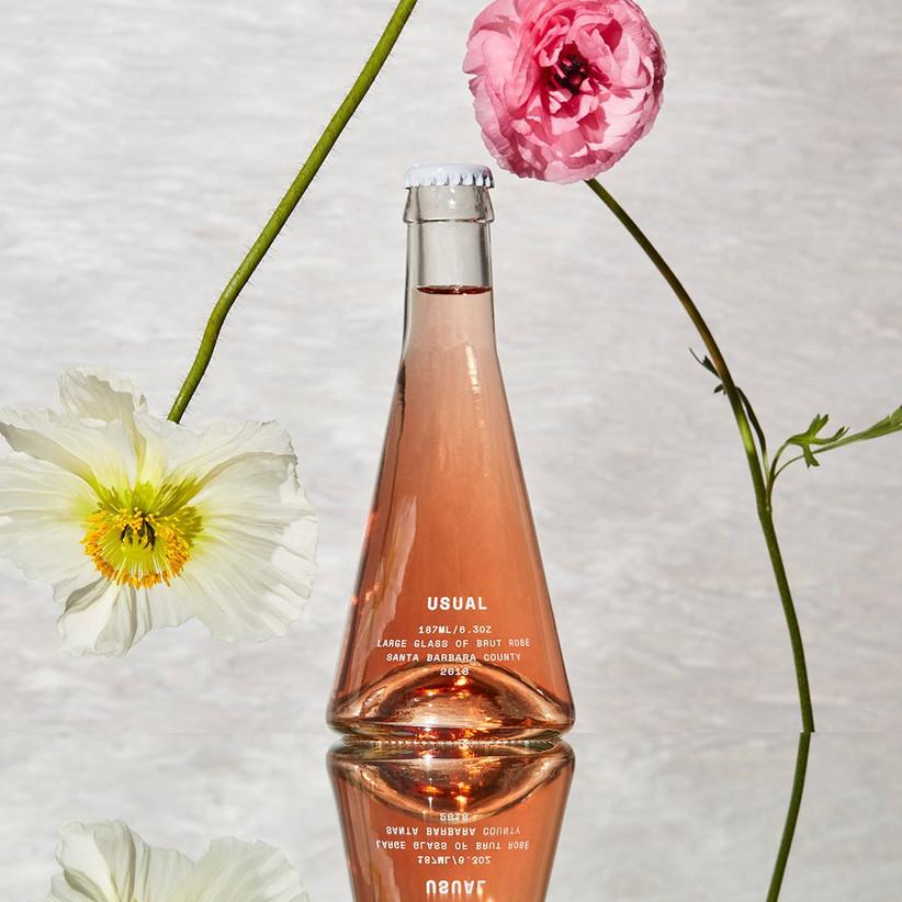 mini bottle of rose wine