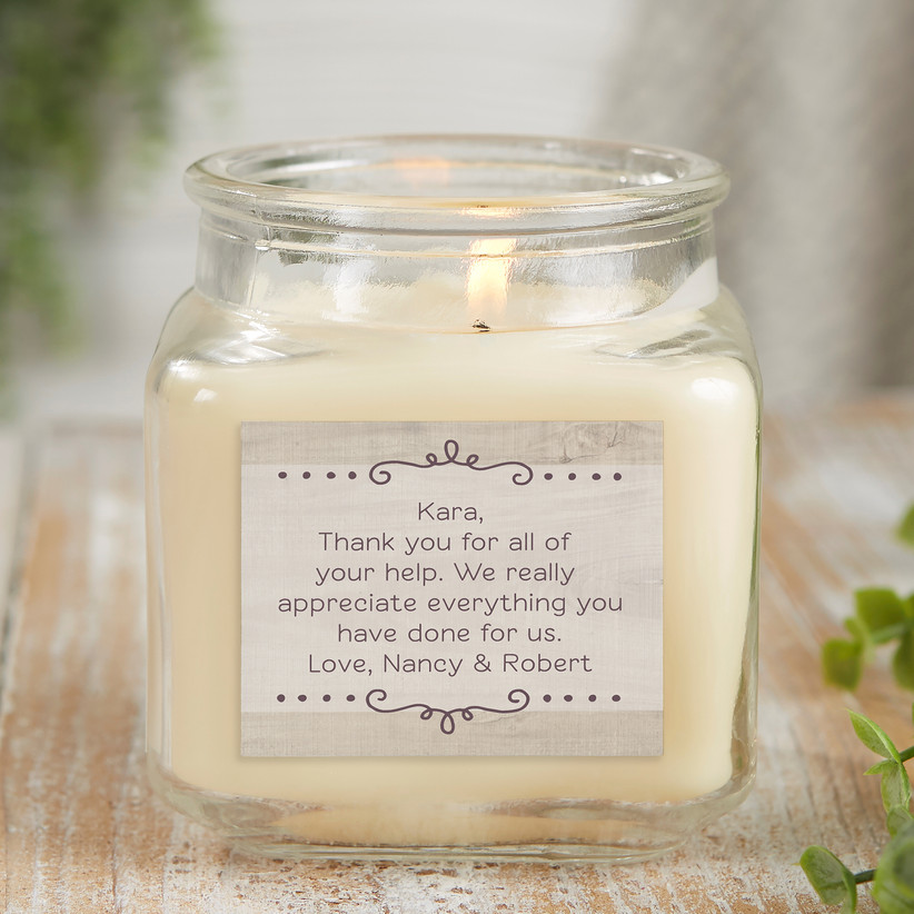 Vanilla-scented candle with custom thank-you note