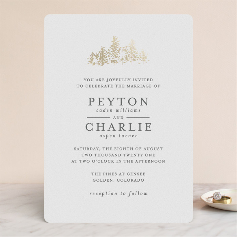 gold and white winter wedding invitations