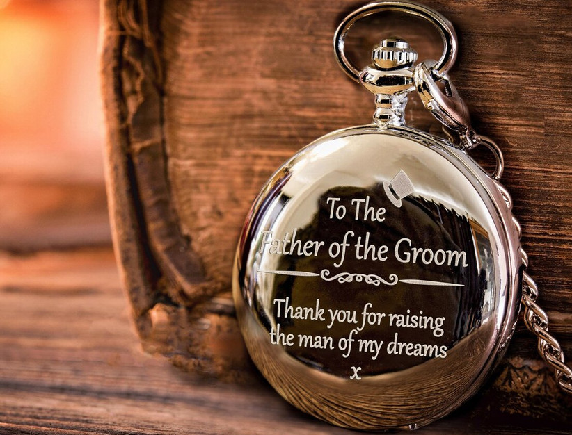 Father of the groom engraved pocket watch gift
