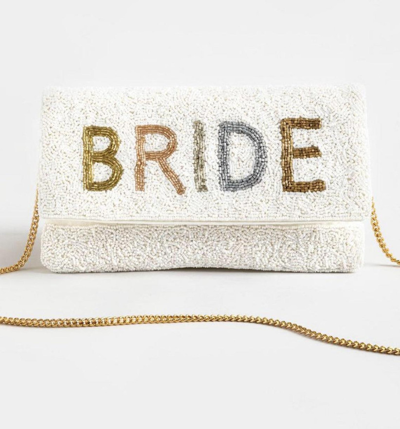 white beaded clutch embroidered with