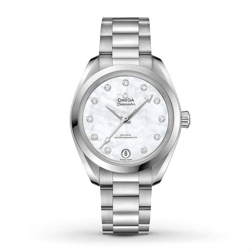 OMEGA stainless steel engagement watch with diamonds marking the hour