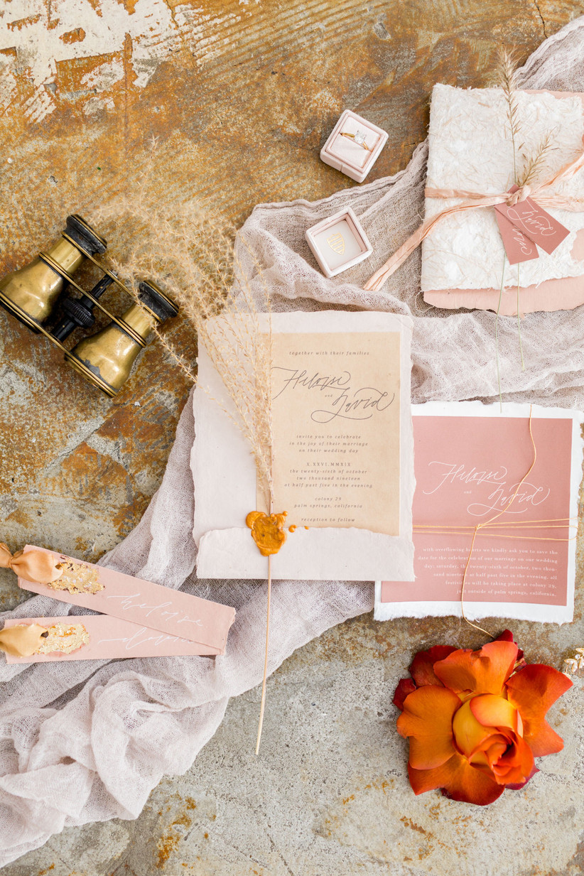 bohemian wedding invitations with roses and metallic detail