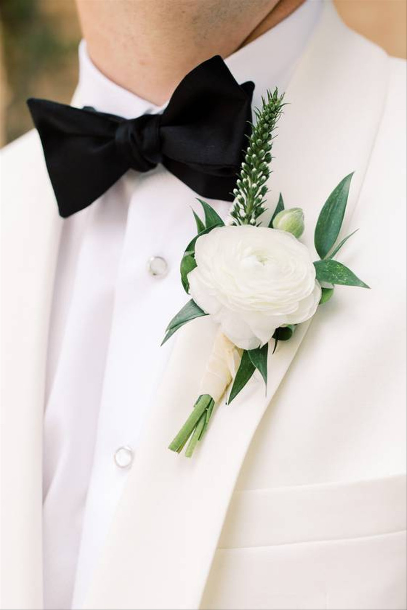 formal white wedding boutonniere