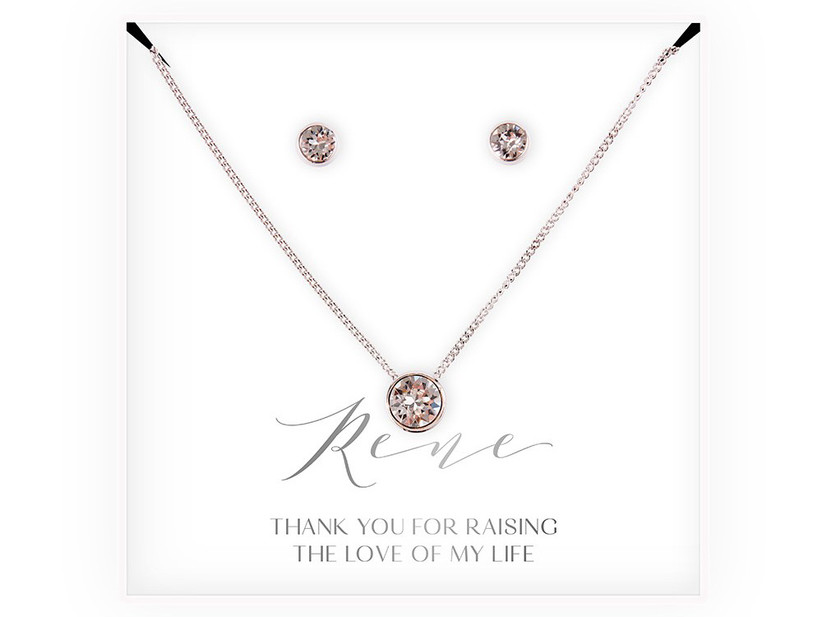 Set of crustal stud earrings and pendant necklace for mother of the groom