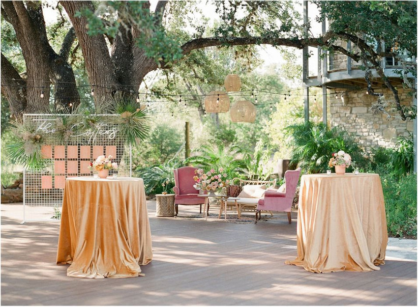 outdoor botanical garden wedding venue under shady trees