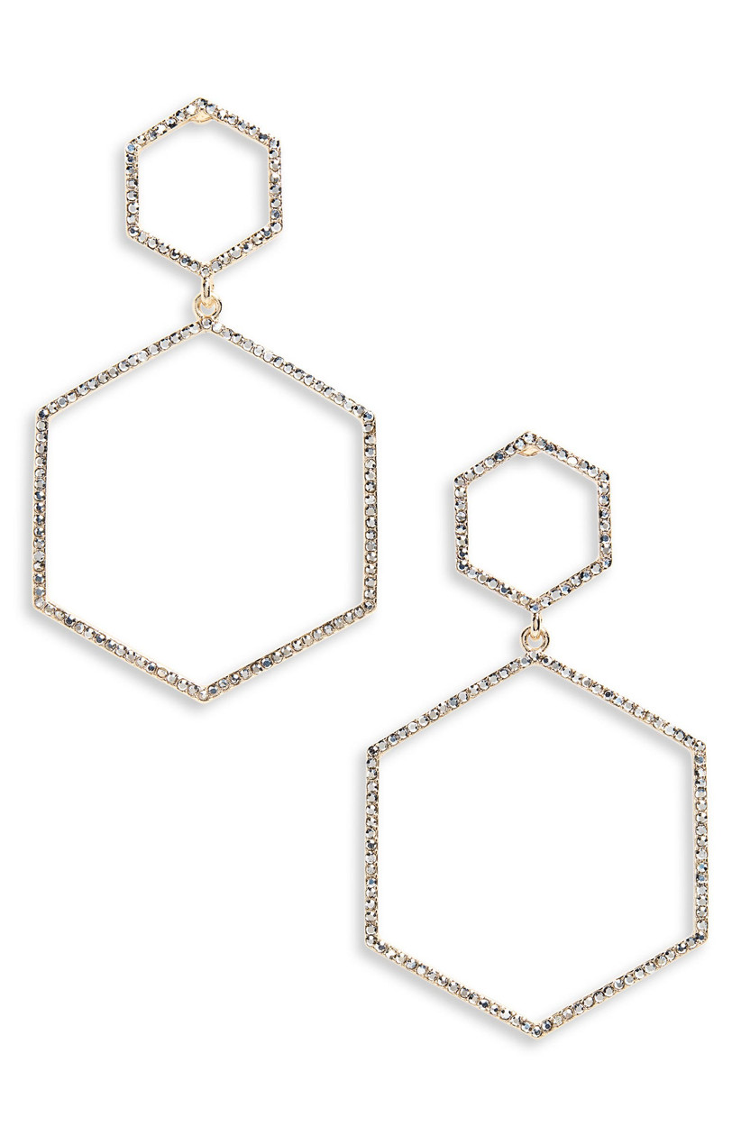 Large statement double-drop hexagonal earrings with pavé crystals