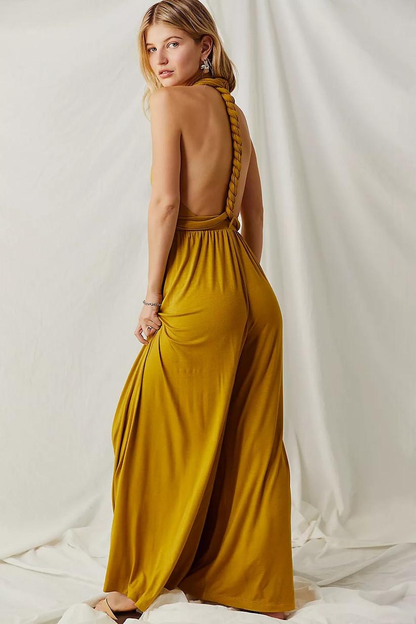 Marigold convertible summer wedding guest jumpsuit