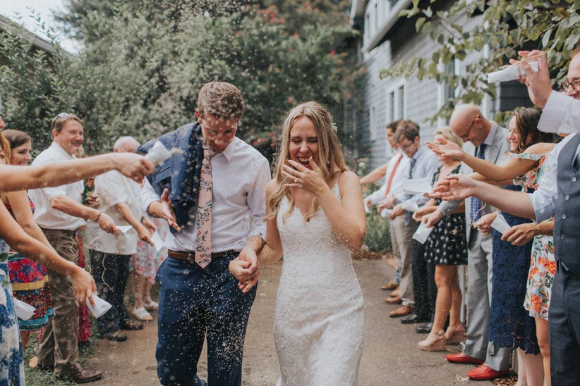 couple confetti backyard wedding