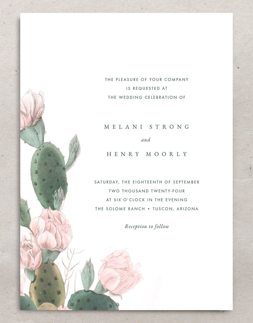 boho summer wedding invitation with watercolor cactus border