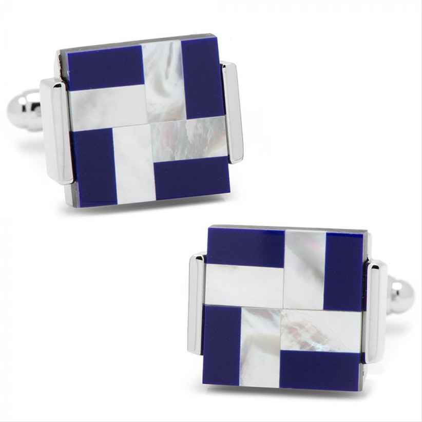ox and bull blue cufflinks for 12th year wedding anniversary gift