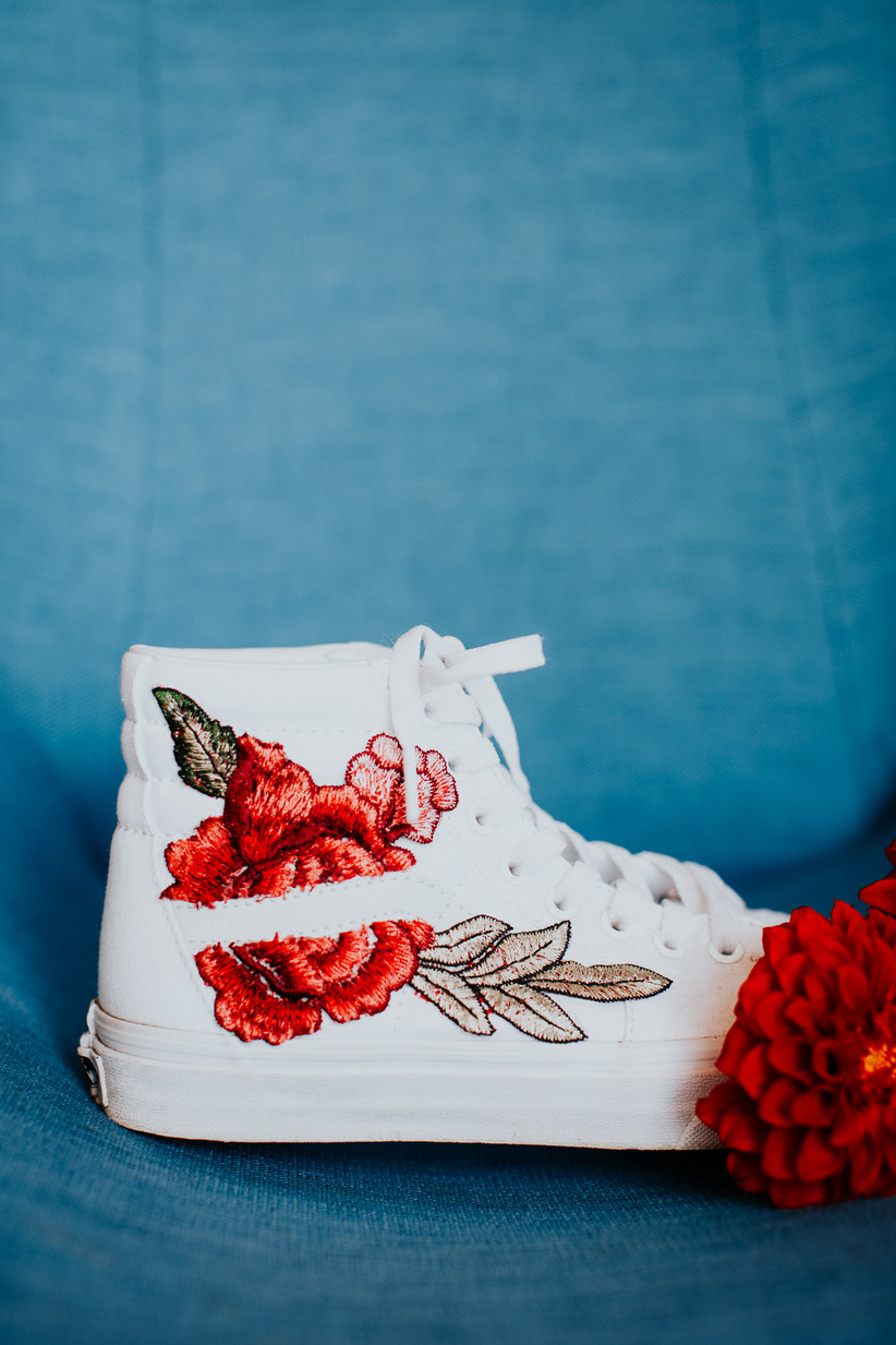 embroidered high-top sneakers