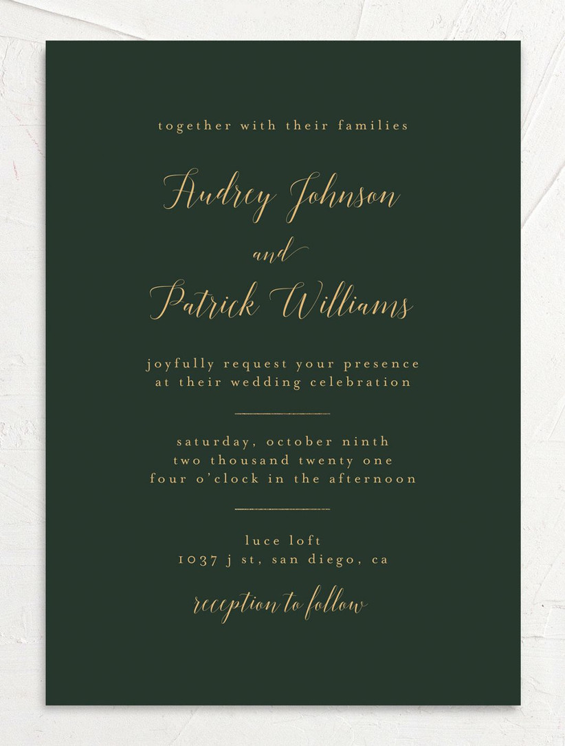 modern winter wedding invitation dark green background with gold text and calligraphy