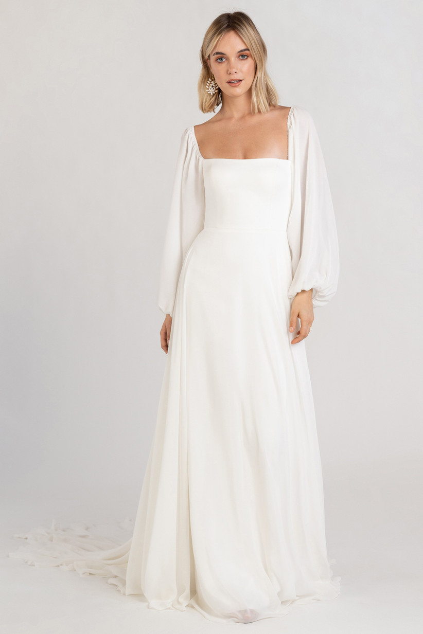 simple wedding dress with square neckline and flowy bishop sleeves