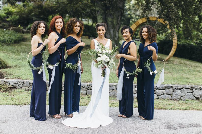 bride with bridesmaids