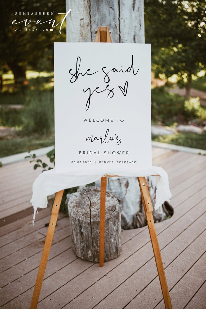 she said yes bridal shower sign