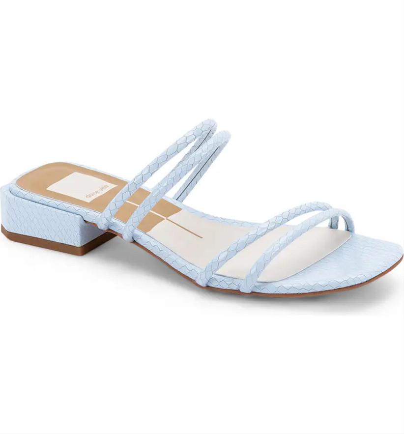slip-on blue wedding shoes croc embossed sandals in sky blue color