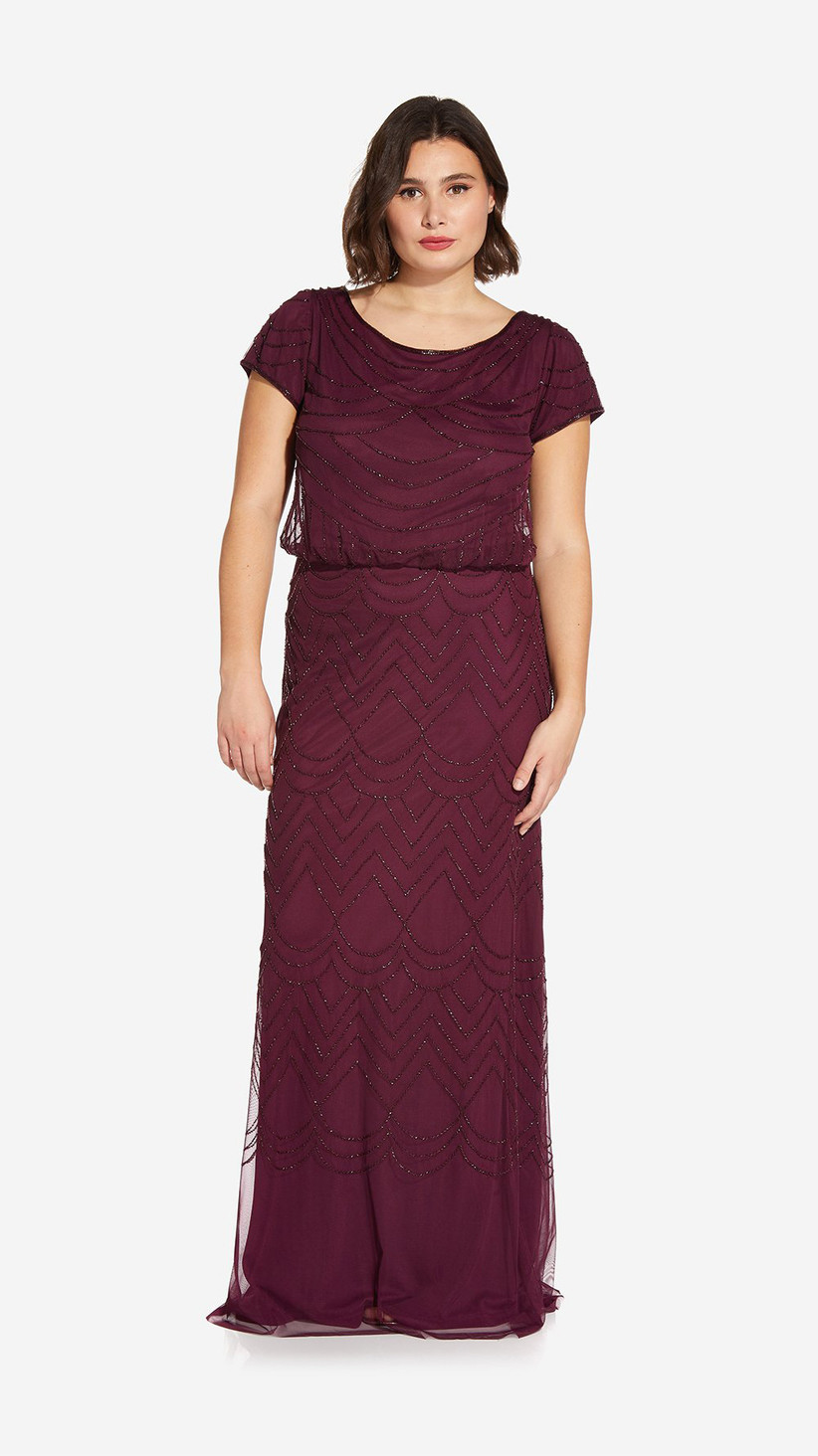 Formal purple floor-length beaded gown for fall wedding