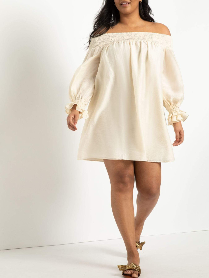 short off-the-shoulder engagement party dress with long puff sleeves ivory linen fabric