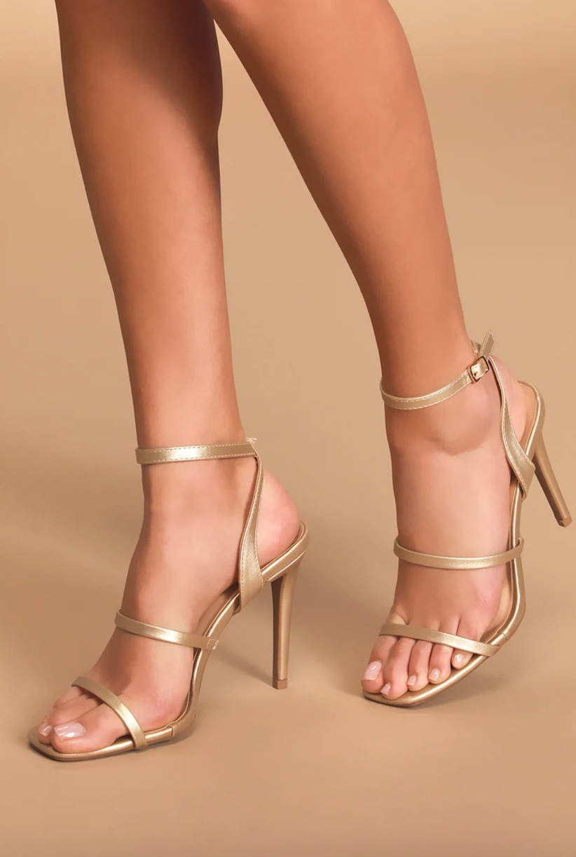 Wedding Guest Shoes gold heels