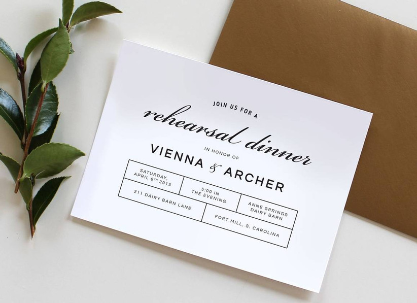 minimalist black and white rehearsal dinner invitations